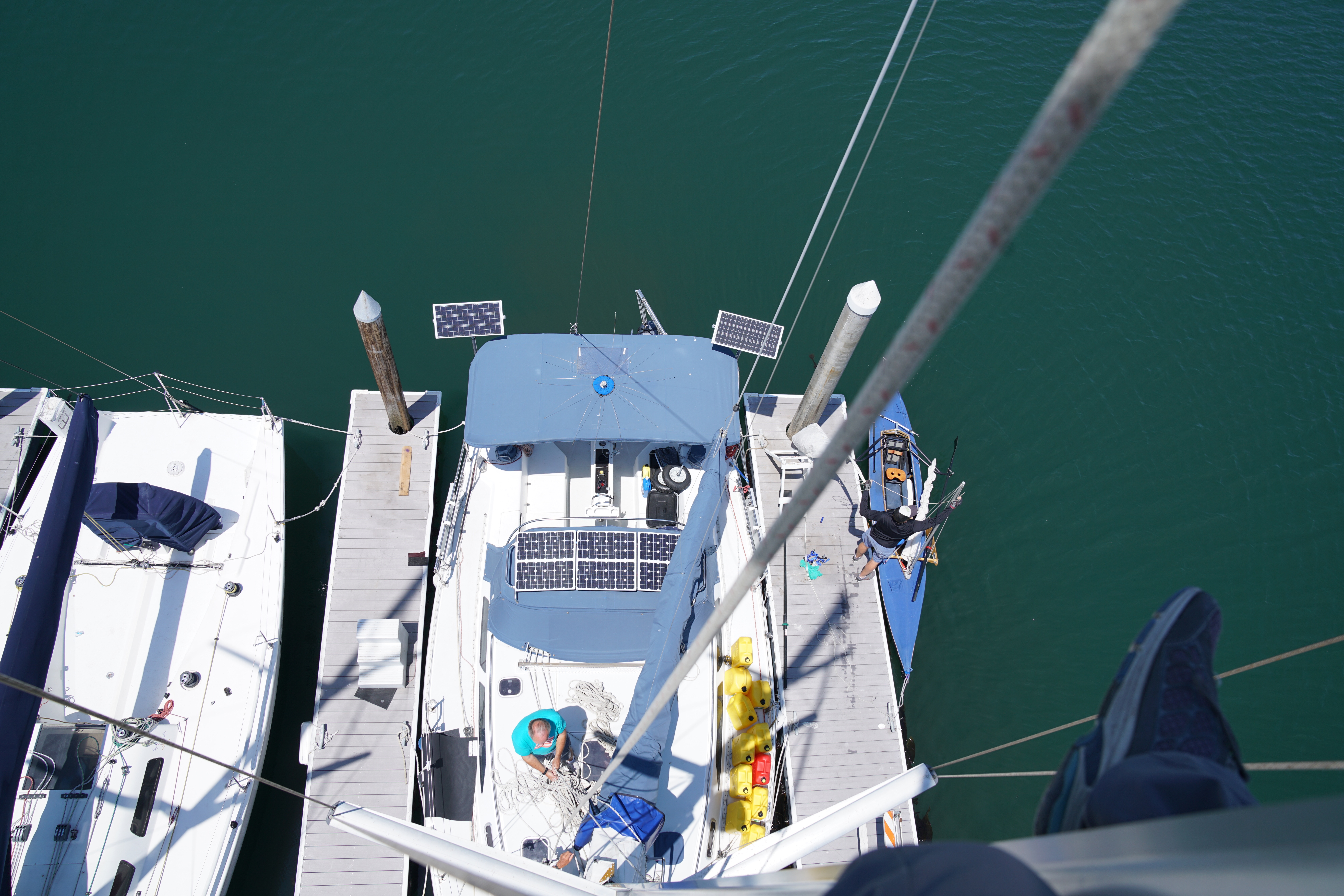 Looking down at Aldabra from halfway up the mast